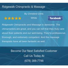 Ridgewalk Chiropractic and Massage is awesome. The chiropractors are great, and you can...