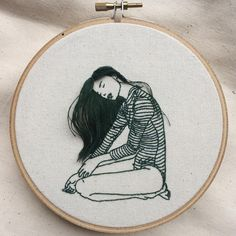 Hand Embroidery Patterns Hand-Sewn Portraits by Sheena Liam Capture Quiet Moments of Self Care Hand Embroidery Stitches, Learn Embroidery, Silk Ribbon Embroidery, Hand Embroidery Designs, Embroidery Techniques, Embroidery Art, Cross Stitch Embroidery, Beginner Embroidery, Embroidery Hoops