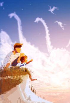 Pare i fill mirant núvols. Pascal Campion