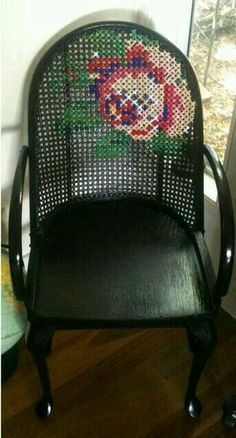 I'm not really into roses but this Cross stitch chair is kind of bad ass.spray paint a flea market chair and add this and you have some cool outside decoration. Upcycled Furniture, Painted Furniture, Diy Furniture, Cross Stitching, Cross Stitch Embroidery, Cross Stitch Patterns, Cross Stitch Rose, Bordados E Cia, Yarn Bombing