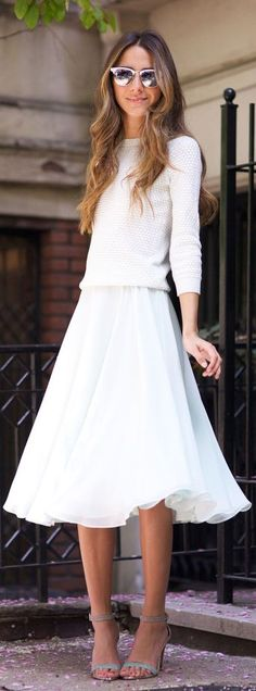 Street Style Fashion: blue skirt, heels and a white sweater all from Ted Baker
