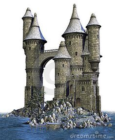 Fantasy castle on an island
