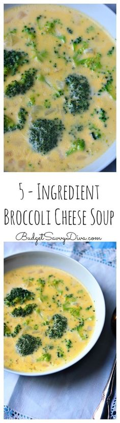 5 - Ingredient Broccoli Cheese Soup - The EASIEST Soup RECIPE EVER! So Easy A Kid Could Make It! Perfect recipe for weekday dinner – Makes enough for 4 – done in under 30 minutes – 5 – Ingredient Broccoli Cheese Soup Recipe Easy Soup Recipes, Crockpot Recipes, Dinner Recipes, Cooking Recipes, Healthy Recipes, Pastina Recipes, Jello Recipes, Kid Recipes, Whole30 Recipes
