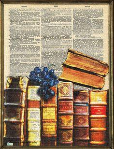 Antique Books Dictionary Art Print