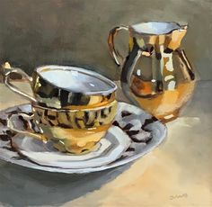 """""""Trading places"""" original fine art by Ans Debije Painting Still Life, Still Life Art, Coffee Cup Art, The Artist's Way, Trading Places, Chicken Painting, Watercolour Tutorials, Small Paintings, Art Classroom"""