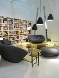 Ligne Roset, new collection at Imm Cologne and Maison & Objet Paris, Piani Tables Andreas Kowalewski Modern Furniture Stores, Contemporary Furniture, Ligne Roset, Storage Shelves, Furniture Design, Sweet Home, House Design, Paris, Living Room