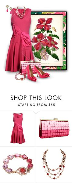 """Pink Prabal Gurung Dress w. Botanical Print"" by franceseattle ❤ liked on Polyvore featuring WALL, Prabal Gurung, INC International Concepts, Oscar de la Renta, Ciner, Betsey Johnson and Chanel"