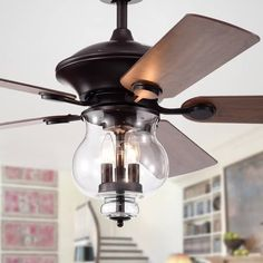 Shop for Topher Antique Bronze Lighted Ceiling Fans with Clear Glass Shade (Optional Remote Control). Get free delivery On EVERYTHING* Overstock - Your Online Ceiling Fans & Accessories Store! Get in rewards with Club O! Tiffany Ceiling Fan, Ceiling Fan Chandelier, Ceiling Lights, Bronze Ceiling Fan, Chandelier Ideas, Ceiling Ideas, Ceiling Decor, Chandeliers, Wooden Fan