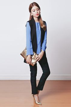 Sfera Top, The Sm Store Clutch, The Sm Store Heels, Mango Vest, Romwe Pants, The Sm Store Earrings