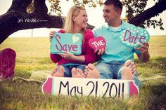 DIY Save the Dates Props :  wedding diy engagement pink save the dates props teal E Pic 4