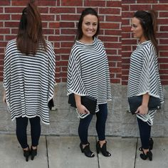 Sugar and spice and everything...stripes!!!! This sweater top is perfect for this time of year! #shoplbvb #stripes