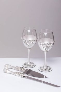 wine glasses and cake server set Wedding wine glasses and