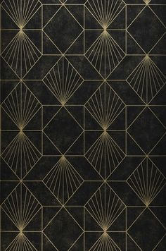 Halcyon Black Geometric Wallpaper Halcyon Black Geometric Wallpaper,Art Deco This shimmering wallpaper has a chic black and gold print. Gold geometric lines converge to form art deco inspired shapes. Flecks of gold are scattered. Wallpaper From The 70s, Wallpaper Art Deco, Geometric Wallpaper, Geometric Lines, Pattern Wallpaper, Black Wallpaper, Wallpaper Designs, Trendy Wallpaper, Wallpaper Wallpapers