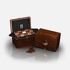 Mahogany box filled with 45 french chocolates