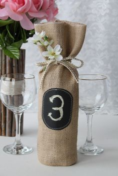 Burlap wine table number