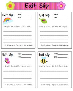Classroom Freebies: Spring Exit Slips