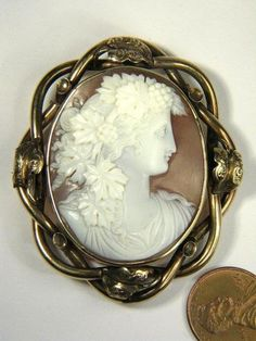 Lovely Antique Gold Carved Shell Cameo Pin Brooch Bacchante C1870 | eBay