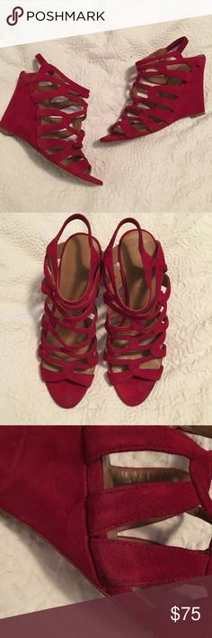 Elie Tahari Red Suede Wedges 38.5 EUC Purchased at Neiman Marcus Last Call worn 3 times! Elie Tahari Shoes Wedges