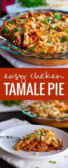 This chicken tamale pie is a huge crowd pleaser and so easy to make! A corn cake bottom and cheesy top. This chicken tamale pie is a huge crowd pleaser and so easy to make! A corn cake bottom and cheesy top. Chicken Tamale Pie, Chicken Tamales, Chicken Enchilada Pie Recipe, Mexican Dishes, Mexican Food Recipes, Dinner Recipes, Mexican Desserts, Drink Recipes, Mexican Cheese