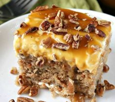 Sea Salt Caramel & Carrot Poke Cake...these are the BEST Fall Dessert…