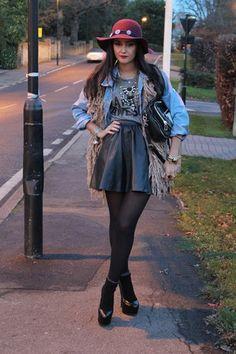 asos skirt - crimson fedora Zara hat - denim asos jacket - Urban Outfitters bag