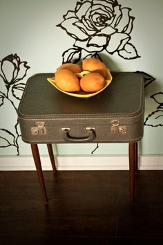 I'm in search of an awesome old suitcase to make an end table out of.  Let me know if you spot one!