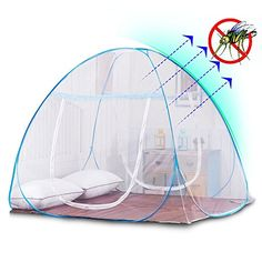 Yoosion Anti Mosquito Net Pop Up Mosquito Bed Tent with Bottom 200(L)*180(W)*150(H) Mosquito Nettings Folding Portable for Baby Toddlers Kids Adult