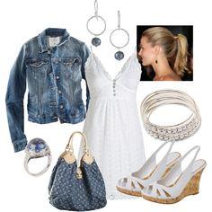 White and denim-  love the denim Louis Vuitton  #style #fashion