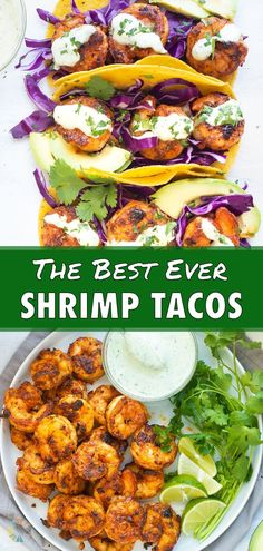 8 reviews · 30 minutes · Serves 4 · Make up the BEST seafood tacos with this Blackened Shrimp Tacos recipe! Spicy cajun seasoned shrimp is loaded on corn tortillas in toasted corn tortillas for a gluten-free dinner. This main dish is… Food Dishes, Main Dishes, Healthy Spring Recipes, Spring Soups, Spicy Shrimp Tacos, Cilantro Lime Shrimp, Vegetarian Entrees, Seasoned Shrimp, Whole 30 Recipes