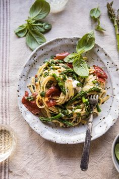 Spicy Pesto, Asparagus, and Ricotta Pasta with Crispy Prosciutto | halfbakedharvest.com #pasta #recipes #quick