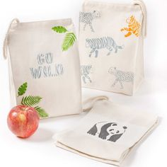 Make super fun Jungle Canvas Lunch Bags for your little one with the new Martha Stewart paints and stencils! Martha Stewart Paint, Martha Stewart Crafts, Junk Modelling, Baby Sensory Play, Crafts For Kids, Diy Crafts, Mixed Media Jewelry, Baby Accessories, Baby Shower Parties