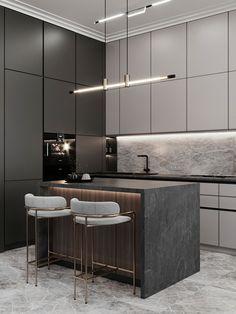 Modern Kitchen Interiors, Luxury Kitchen Design, Kitchen Room Design, Contemporary Kitchen Design, Kitchen Cabinet Design, Home Decor Kitchen, Interior Design Kitchen, Modern Contemporary, Modern Luxury