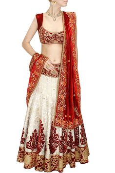 Red and off white zardosi embroidered lehenga set by Diva'ni. Shop at www.perniaspopupshop.com. #traditional #designer #festive #divani #shopnow #perniaspopupshop #happyshopping