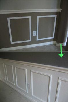 Create wainscoting by painting panel frames to match the wall.