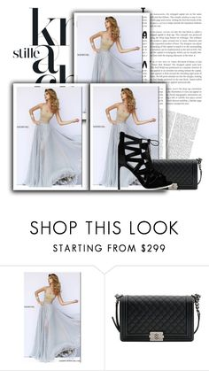 """Sherri Hill 32143 Silver Strapless Gown"" by susannelsone on Polyvore featuring Sherri Hill and Chanel"