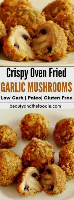 Crispy Oven Fried Garlic Mushrooms Low carb , paleo, & gluten free is part of Stuffed mushrooms - Crispy Oven Fries, Fries In The Oven, Paleo Recipes, Low Carb Recipes, Cooking Recipes, Bariatric Recipes, Air Fryer Recipes Gluten Free, Mexican Recipes, Grilling Recipes