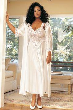 Stretch Lace Long Gown - Plus Size