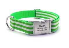 Monarch Stripe Dog Collar with Laser Engraved by LaserPets on Etsy, $29.99