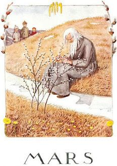 Set of 12 new single postcards by Elsa Beskow, 12 months, cute Elsa Beskow, Art And Illustration, Foto Transfer, Flying Squirrel, Months In A Year, 12 Months, Vintage Children, Vintage Art, Illustrators