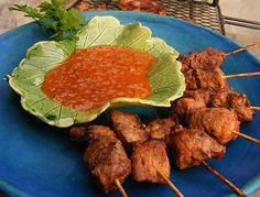 Steak Kebabs with a Monkey-Gland Dipping Sauce 'I'm chasing monkeys round the garden with a meat cleaver as we speak,' I wrote on my Fac. Soccer Snacks, South African Recipes, Kebabs, Food Humor, Meat Recipes, Finger Foods, Steak, Beef, Suppers