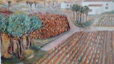 Huerta con olivos; óleo sobre lienzo, por Javier Vega Regueiro.