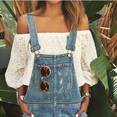 off shoulder lace top paired with overalls
