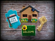 New Home House Warming Home Sweet Home Realtor Decorated Sugar Cookies by CookieBarn on Etsy https://www.etsy.com/listing/223908469/new-home-house-warming-home-sweet-home