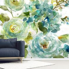 Stunning Cool Watercolor Floral wall mural from Wallsauce. Easy to order and install. Free delivery to eurozone destinations within 3 to 5 working days. Dance Wallpaper, Field Wallpaper, Plant Wallpaper, Photo Wallpaper, Flower Wallpaper, Wall Wallpaper, Watercolor Floral Wallpaper, Mint Paint, Flower Mural