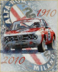 Alfa Romeo Afiche Centenario Auto-Retro