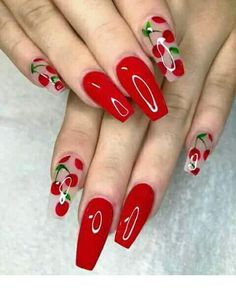 15 Cute Nail Art Designs to Welcome Summer - Cute 🍒❤🍒 Trendy Stunning M. - My Pins 15 Cute Nail Art Designs to Welcome Summer – Cute 🍒❤🍒 Trendy Stunning Manicure Ideas For Short Acrylic Nails Design - Cute Nail Art Designs, Red Nail Designs, Fruit Nail Designs, Cute Summer Nail Designs, Red Acrylic Nails, Red Nail Art, Acrylic Art, Bright Summer Acrylic Nails, Bright Nail Art