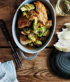 Australian Gourmet Traveller recipe for chicken fricassée with Brussels sprouts.