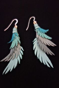 Turquoise Leather Feather Earrings