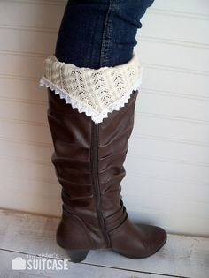 Upcycled boot socks made from sweater sleeves. Lace is sewn along the top of the sleeve, the bottom/wrist of the sleeve is at the ankle. lace boot sock