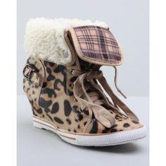 Fashion Lab Women Sporty Wedge Sneaker W/sherpa - Footwear --> http://impactmag.net